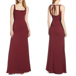 Hayley Paige Square Neck Tie Back Evening Dress